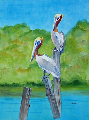 Painting - Pelican Perch II by Norman Freyer