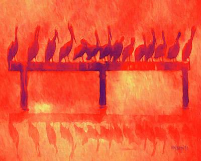 Digital Art - Pelican Perch - Mississippi Gulf Coast Sunset by Rebecca Korpita