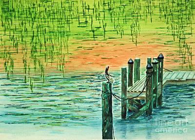 Pylon Painting - Pelican Perch by Terri Mills