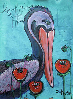 Painting - Pelican Poppies 1 by Laurie Maves ART