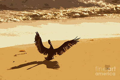 Digital Art - Pelican Spreads It's Wings by Sharon Foelz
