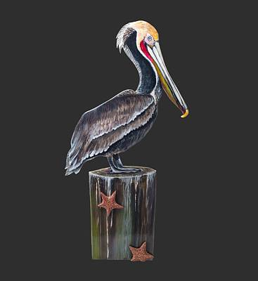 Pelican Standing On A Piling Original by Jennifer Rogers