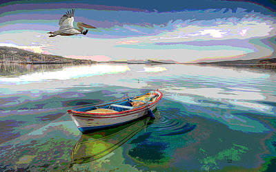 Rowboat Mixed Media - Pelican Sunrise by Charles Shoup