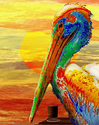 Digital Art - Pelican Sunset by Wally Boggus