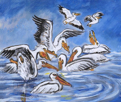 Painting - Pelican Vignette From River Mural by Dawn Senior-Trask