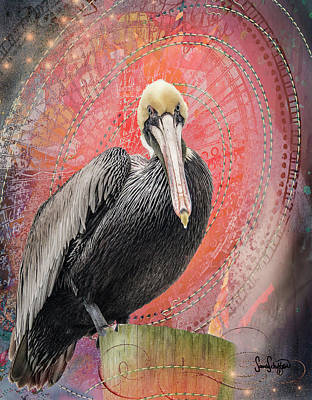 Digital Art - Pelican With Red by Sandra Schiffner