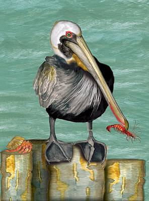 Art Print featuring the painting Pelican With Shrimp by Anne Beverley-Stamps