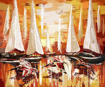 Painting - Pelicans And Sailboats by Tim Gilliland