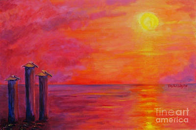 Pelicans At Sunset Art Print by Doris Blessington