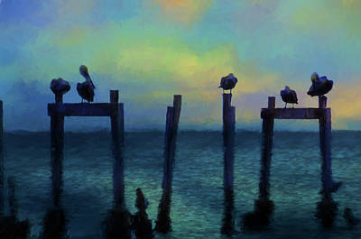 Art Print featuring the photograph Pelicans At Sunset by Jan Amiss Photography