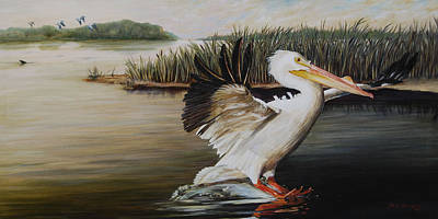 Cattail Painting - Pelicans At The Confluence by Rob Dreyer