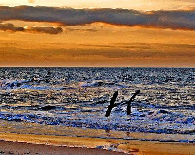 Painting - Pelicans Crusing The Coast by Michael Thomas