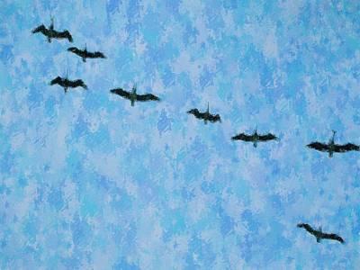 Pelicans' Flight Art Print