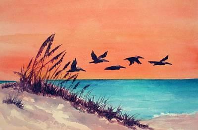 Pelicans Flying Low Art Print