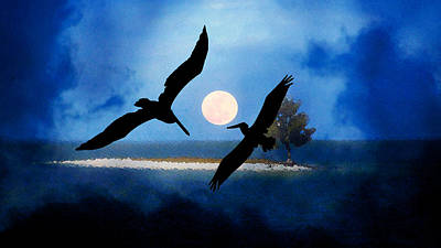 Painting - Pelican's In The Moon Light by David Lee Thompson