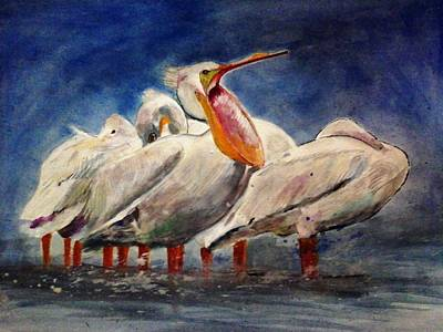Painting - Pelicans by Khalid Saeed