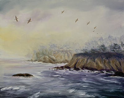 Painting - Pelicans On A Misty Morning by Laura Iverson
