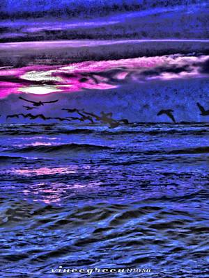 Digital Art - Pelicans On The Horizon by Vince Green