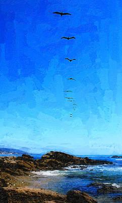 Laguna Beach Digital Art - Pelicans Over Laguna Beach by Ron Regalado