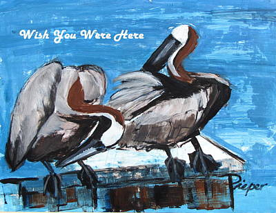 Painting - Pelicans Up Close And Personal by Betty Pieper