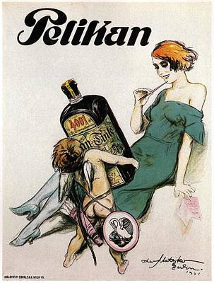 Ink Mixed Media - Pelikan - Baby Angel With Ink Bottle - Vintage Advertising Poster by Studio Grafiikka