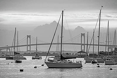 Photograph - Pell Bridge Newport Harbor Newport Ri Rhode Island Purple Sunset Black And White by Toby McGuire