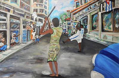 Baseball Painting - Pelota Callejera - Streetball by Jorge Delara