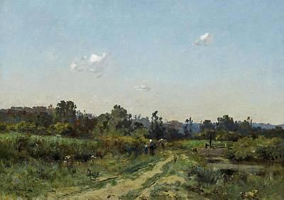 Western Art - PELOUSE, LEON GERMAIN Pierrelaye 1838 - 1891 Summery Landscape near Barbizon. 1880 by Pelouse Leon Germain
