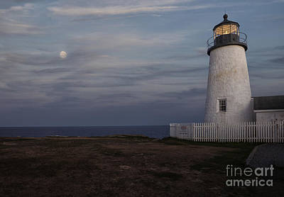 Pemaquid Lighthouse Photograph - Pemaquid And Full Moon by Timothy Johnson