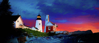 New England Lighthouse Digital Art - Pemaquid Lighthouse At Dawn Artistic Panorama by David Smith