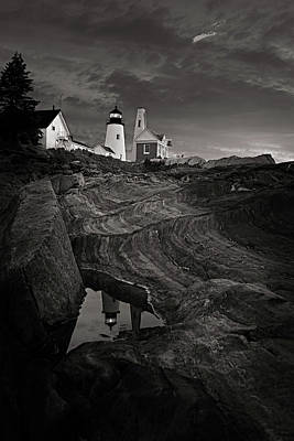 Pemaquid Lighthouse At Dawn Black And White Art Print