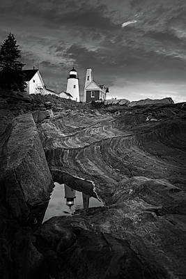 Acadian Photograph - Pemaquid Lighthouse At Dawn Black And White by David Smith