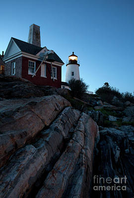 Photograph - Pemaquid Point Light In Early Evening #8147-48 by John Bald