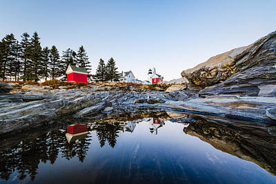 Print featuring the photograph Pemaquid Point Light Reflection by Robert Clifford