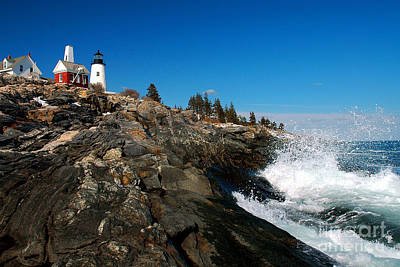 Pemaquid Point Lighthouse - Seascape Landscape Rocky Coast Maine Art Print by Jon Holiday