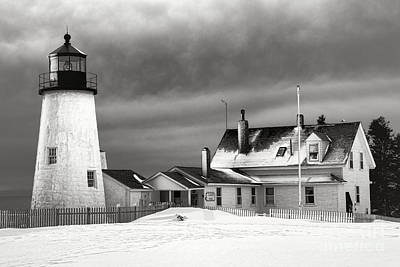 Maine Shore Photograph - Pemaquid Point Lighthouse And Museum In Winter Monochrome  by Olivier Le Queinec