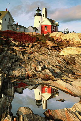 Photograph - Pemaquid Point Lighthouse And Tidal Pool Reflection by Roupen  Baker