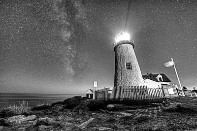 Photograph - Pemaquid Point Lighthouse Bristol Road Maine Black And White by Toby McGuire