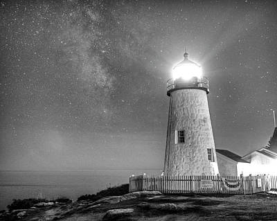 Photograph - Pemaquid Point Lighthouse Bristol Road Maine Milky Way Black And White by Toby McGuire
