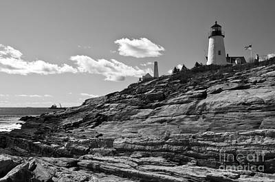 Photograph - Pemaquid Point Lighthouse Black And White by Glenn Gordon