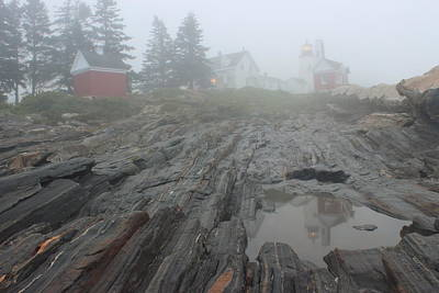 Photograph - Pemaquid Point Lighthouse Foggy Morning by John Burk