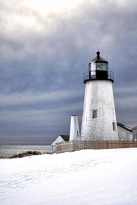 Maine Shore Photograph - Pemaquid Point Lighthouse In Winter by Olivier Le Queinec