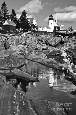 Photograph - Pemaquid Point Lighthouse Maine Black And White by Glenn Gordon
