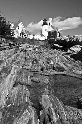 Photograph - Pemaquid Point Lighthouse Maine 2 Black And White by Glenn Gordon