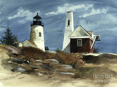 Maine Lighthouses Painting - Pemaquid Point Lighthouse  by Nancy Patterson