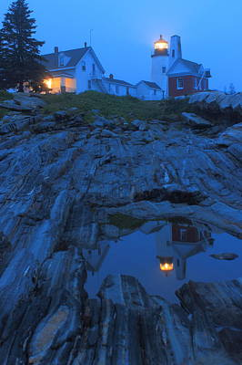 Photograph - Pemaquid Point Lighthouse Tide Pool At Dusk by John Burk