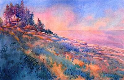 Ocean Sunset Painting - Pemaquid Rocks by Virgil Carter