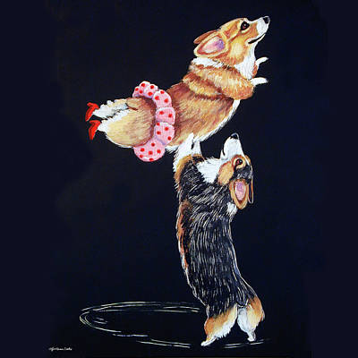 Pembroke Welsh Corgi Her Red Shoes Art Print by Lyn Cook