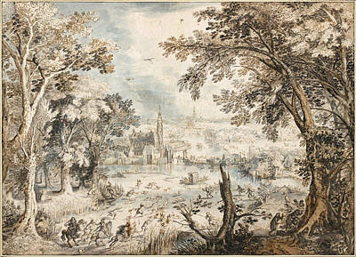 Blue And Gray Drawing - Pen And Brown Ink, Blue, Gray And Brown Wash by Landscape with a Hare Hunt