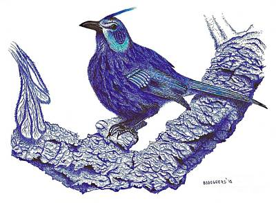 Forest Drawing - Pen And Ink Drawing Of Blue Bird by Mario Perez